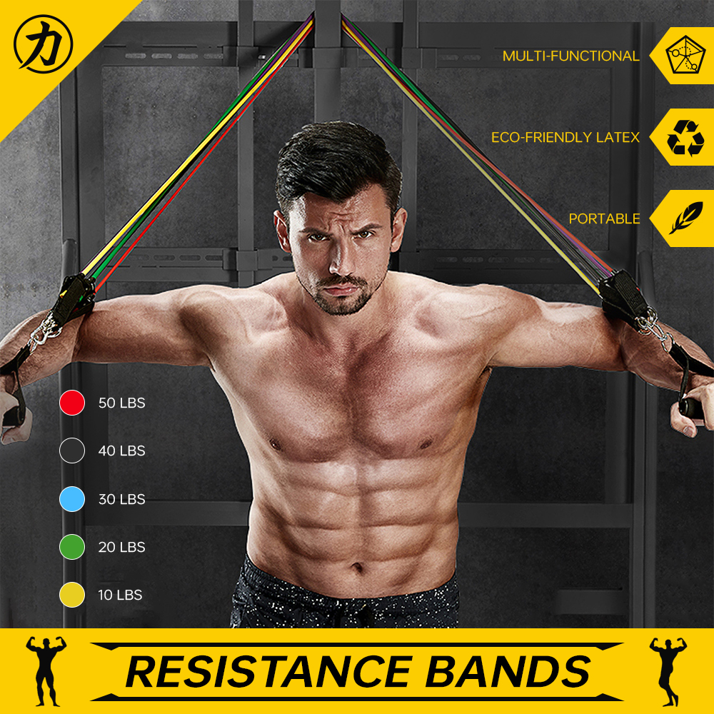 12Pcs Resistance Bands Home Workout Exercise Crossfit Fitness Training Gym Tube